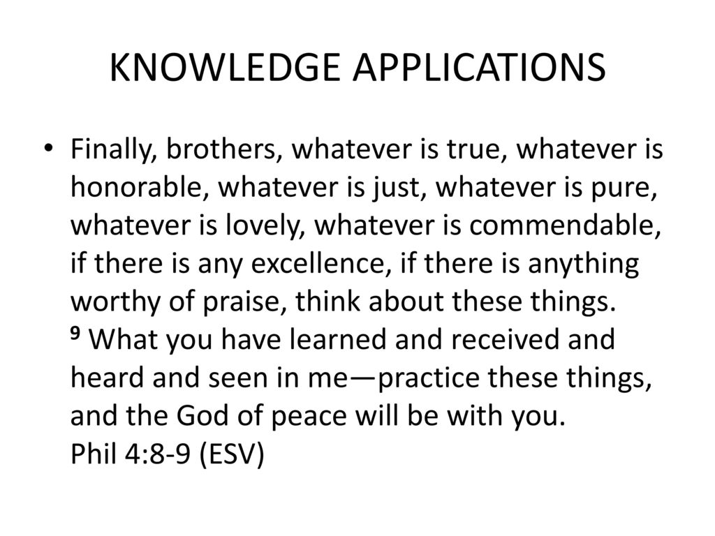 KNOWLEDGE APPLICATIONS