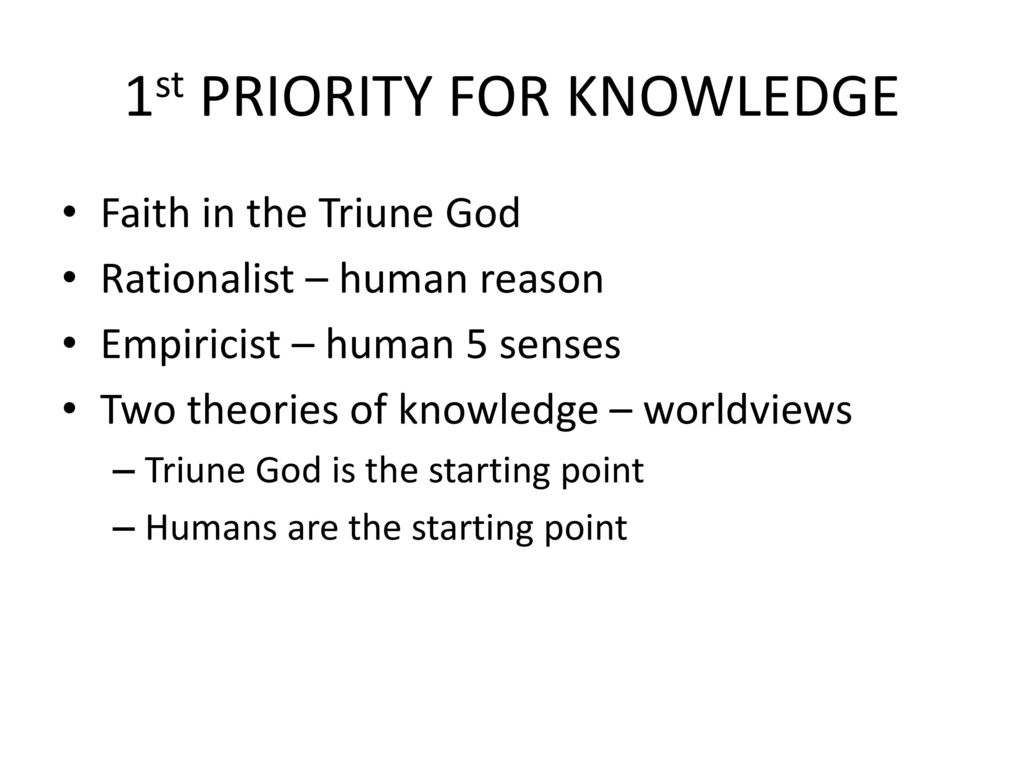 1st PRIORITY FOR KNOWLEDGE