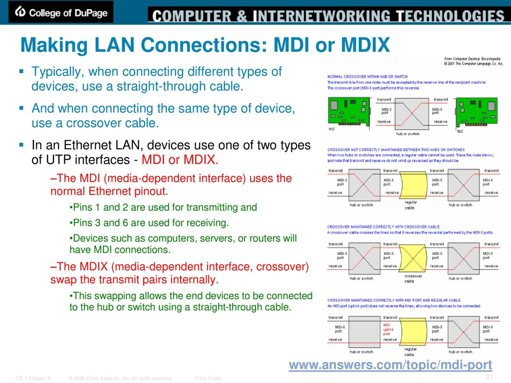 Planning And Cabling Networks Ppt Download Cable Diagram Displays The End To Pinout For A Crossover Making Lan Connections Mdi Or Mdix