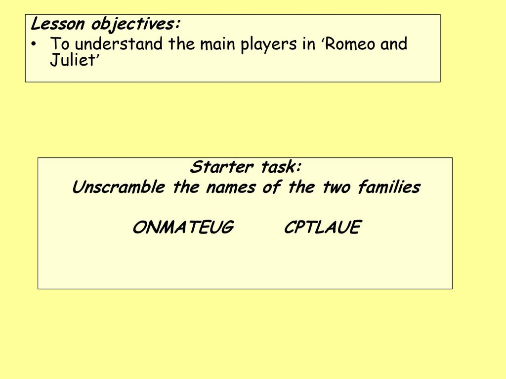 name the two families in romeo and juliet