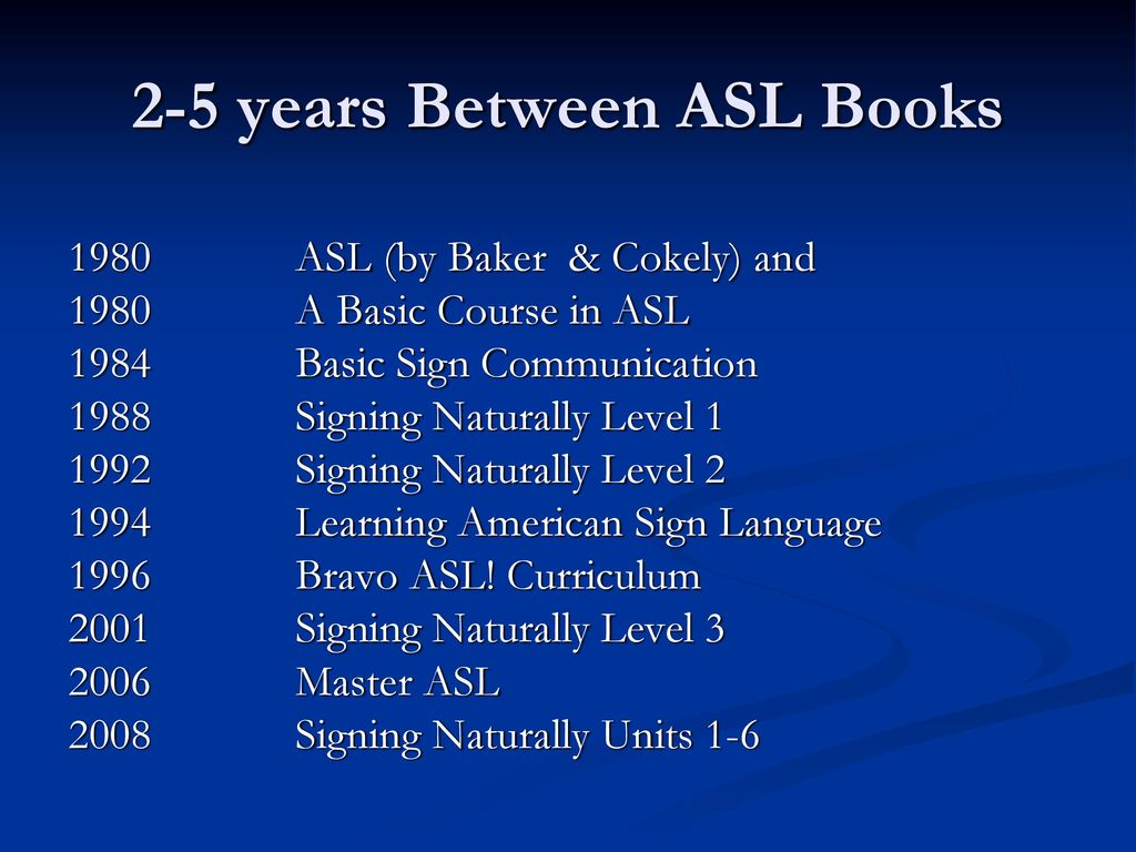 Historical And Current Curricula For AAS BA And MA Programs In ASL