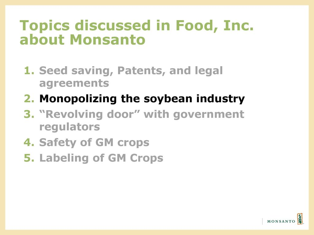 Sharing Monsantos Story Food Inc Ppt Download