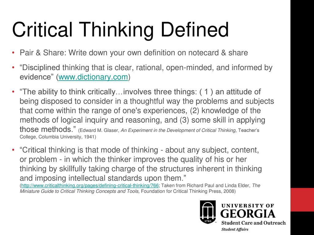 define thinking critically
