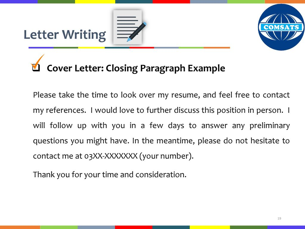 Which Of The Following Should You Not Do In The Closing Paragraph Of Your Cover Letter? from slideplayer.com