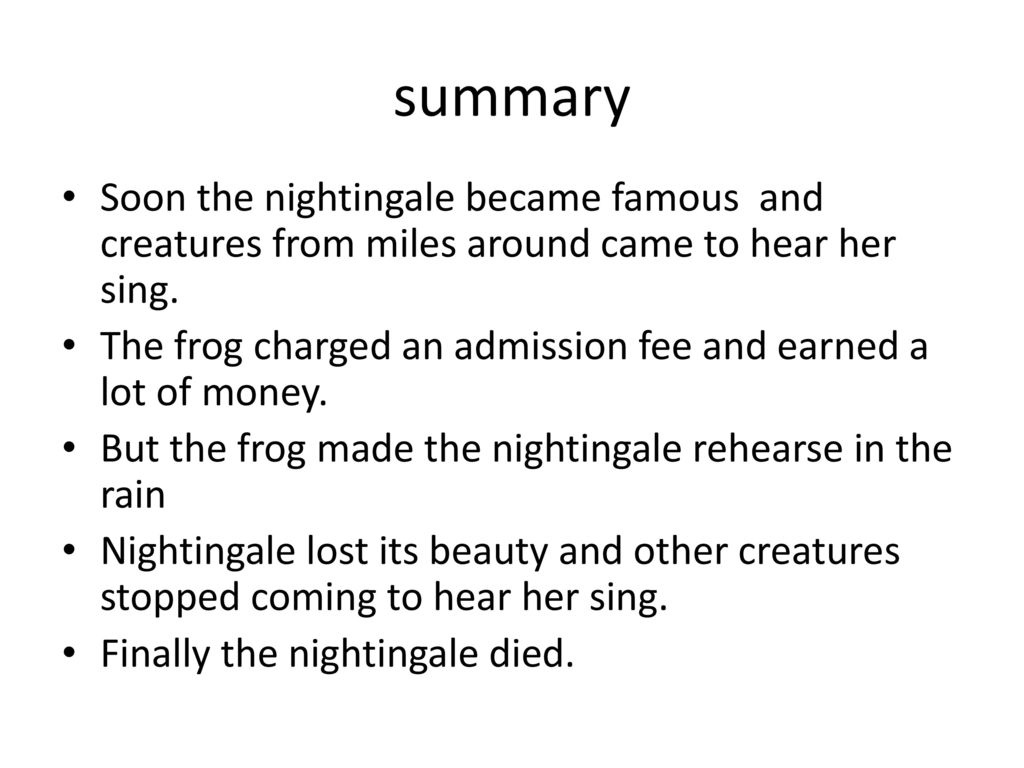 the frog and the nightingale summary