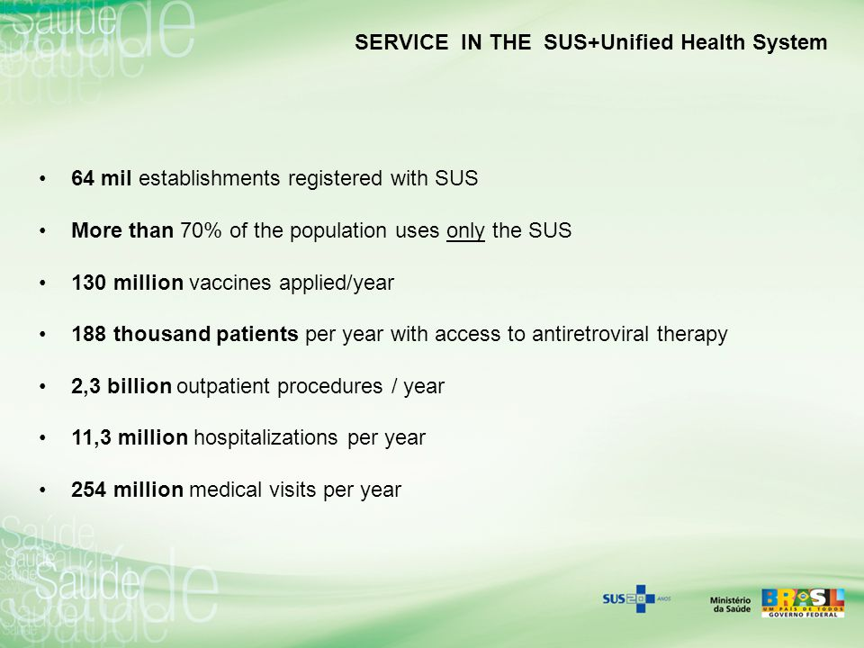 SERVICE IN THE SUS+Unified Health System