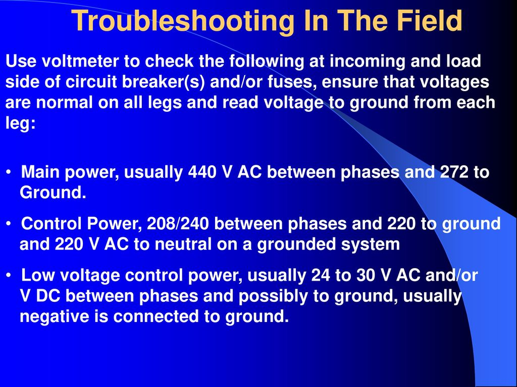 Fundamentals Of Electricity Electrical Equipment Ppt Download Troubleshooting The Basic Control Circuits System In Field