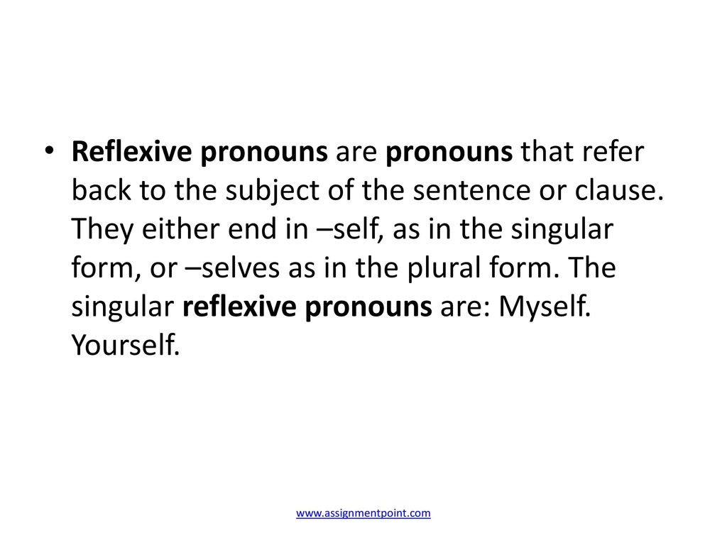 Lecture on Reflexive Pronouns - ppt download