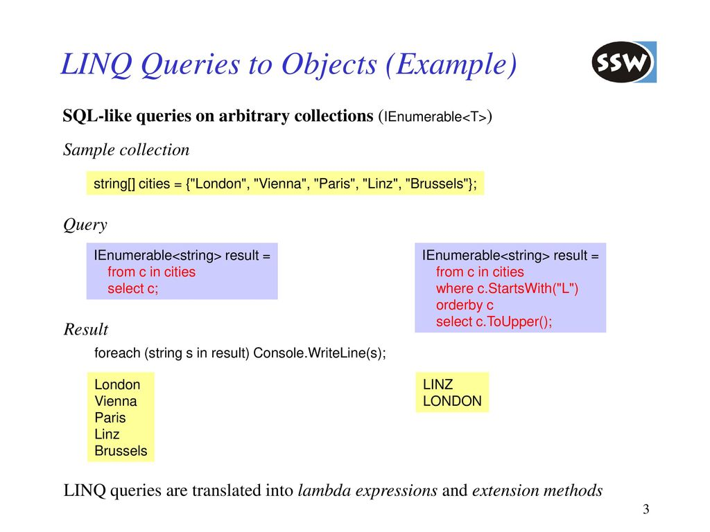 New Features in C# 3 0 LINQ Lambda Expressions Extension