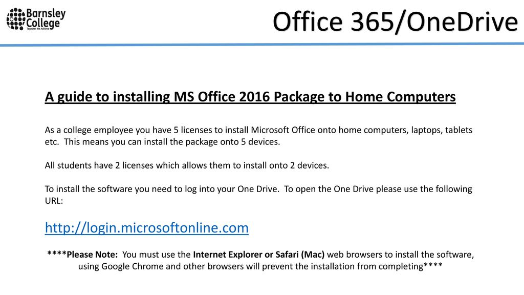 Office 365/OneDrive Installation Guide  - ppt download