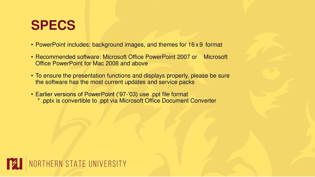 please use this template to create presentations using the nsu brand