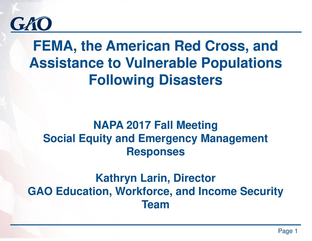 FEMA, the American Red Cross, and Assistance to Vulnerable