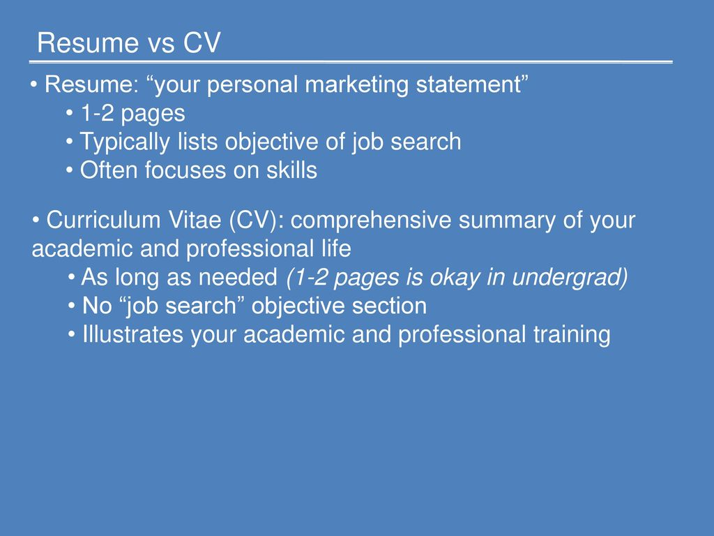Resume Vs Cv Resume Your Personal Marketing Statement 1 2 Pages