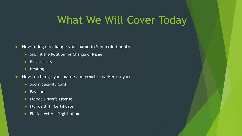 Steps To Change Your Name And Gender For Seminole County Residents