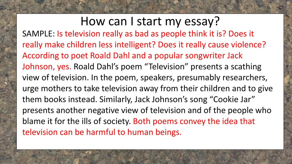 television poem by roald dahl summary