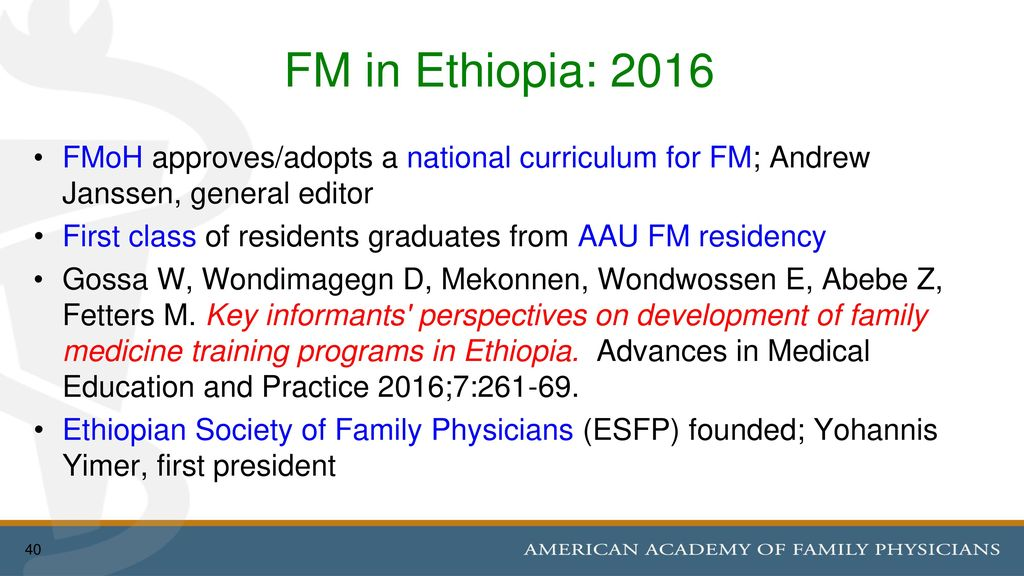 Family Medicine's Continued Growth & Development in Ethiopia - ppt