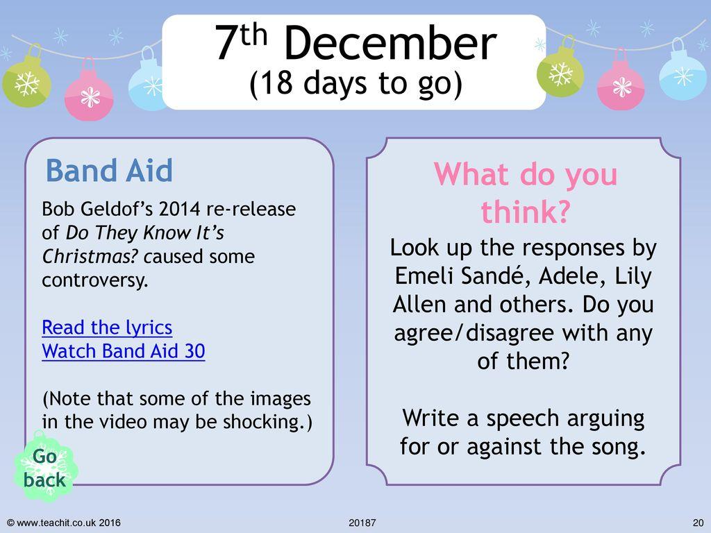 Do They Know Its Christmas Lyrics.Christmas Advent Calendar Ppt Download