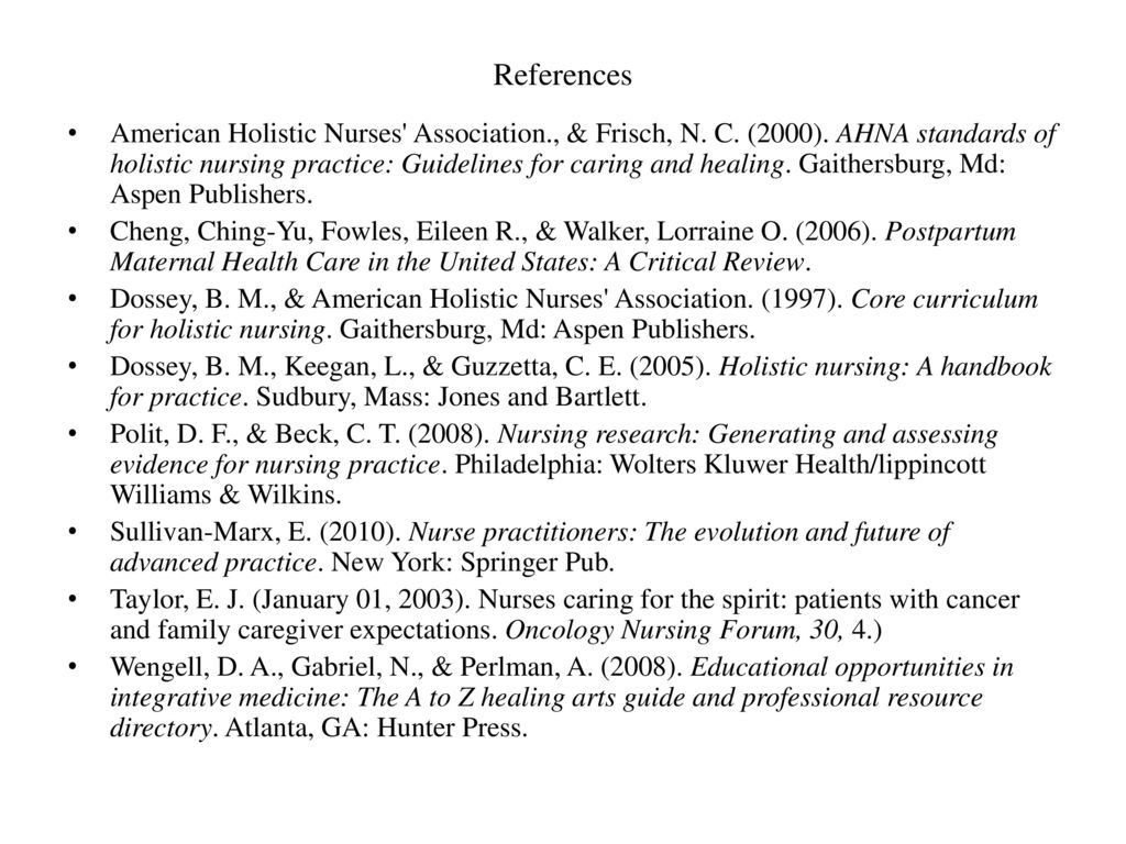 ahna standards of holistic nursing practice guidelines for caring and healing