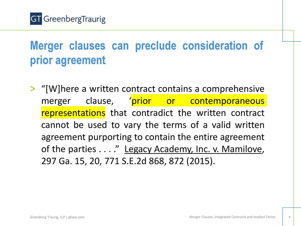 Contract Litigation Merger Clauses Integrated Contracts And Implied