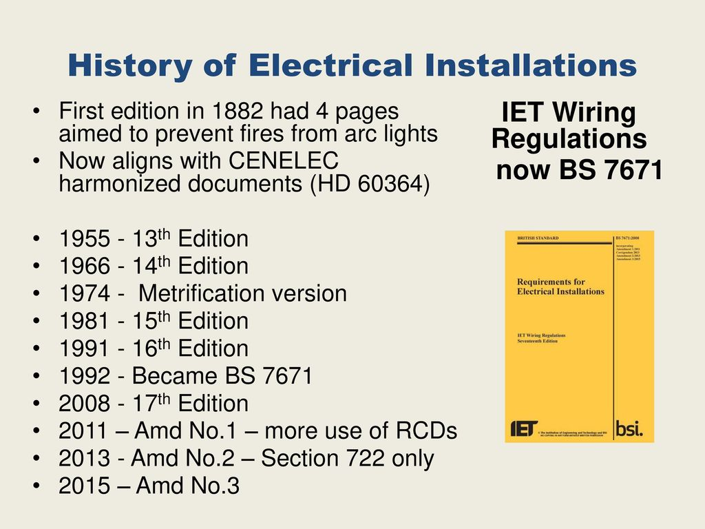 Important Dates And Events In Electrical Installations Ppt Download 17th Edition Wiring Regulations Book History Of