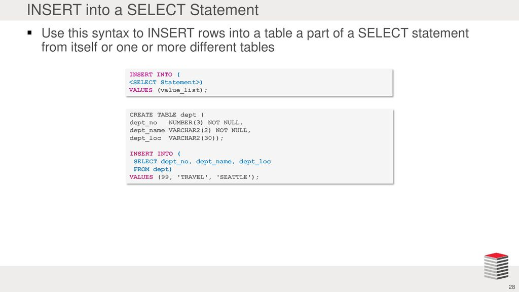 Madison : Insert into select values