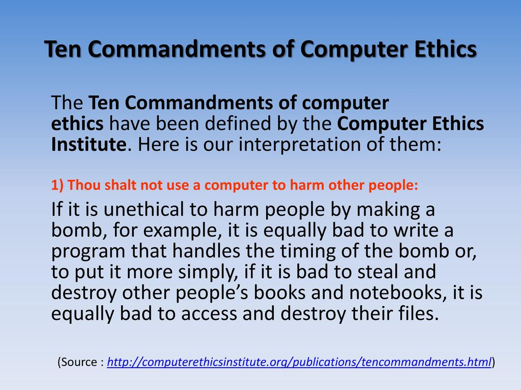 bad computer ethics