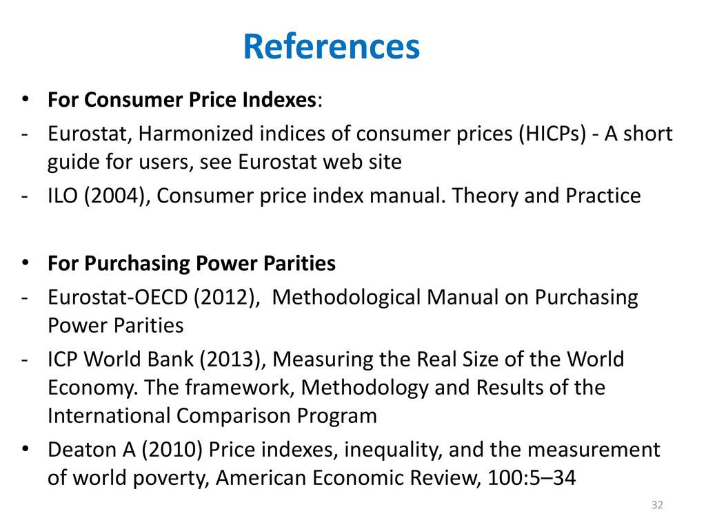 References For Consumer Price Indexes: