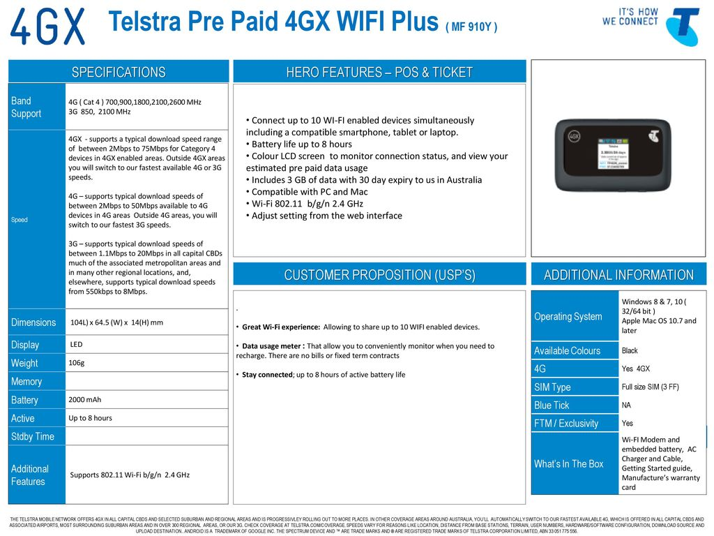 Telstra Pre Paid 4GX WIFI Plus ( MF 910Y ) - ppt download