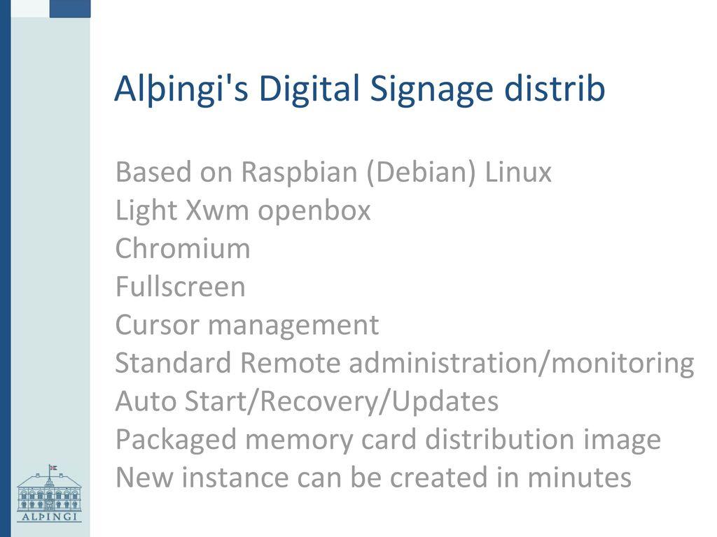Alþingi's Digital Signage System - ppt download