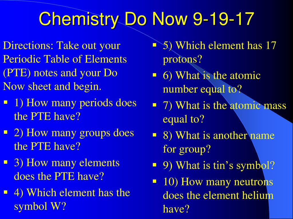 Chemistry Do Now Directions Take Out Your Periodic Table Of