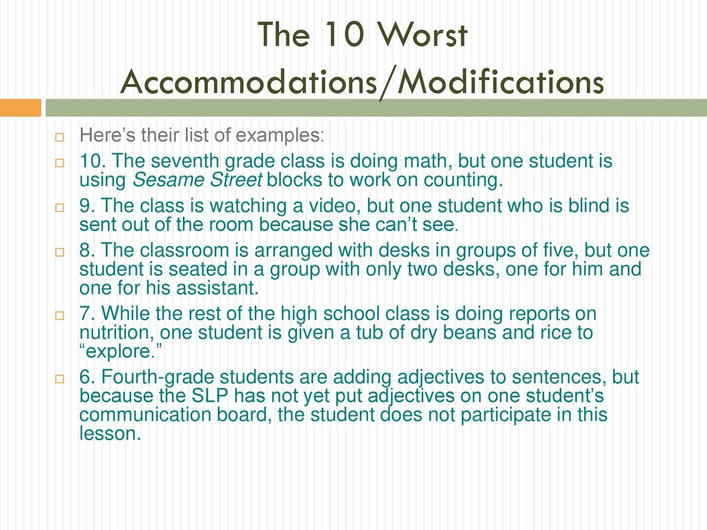 Understanding Accommodations and Modifications In the general ...