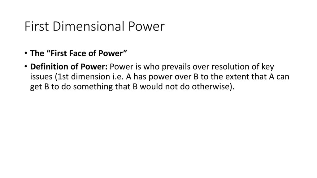 first dimension of power