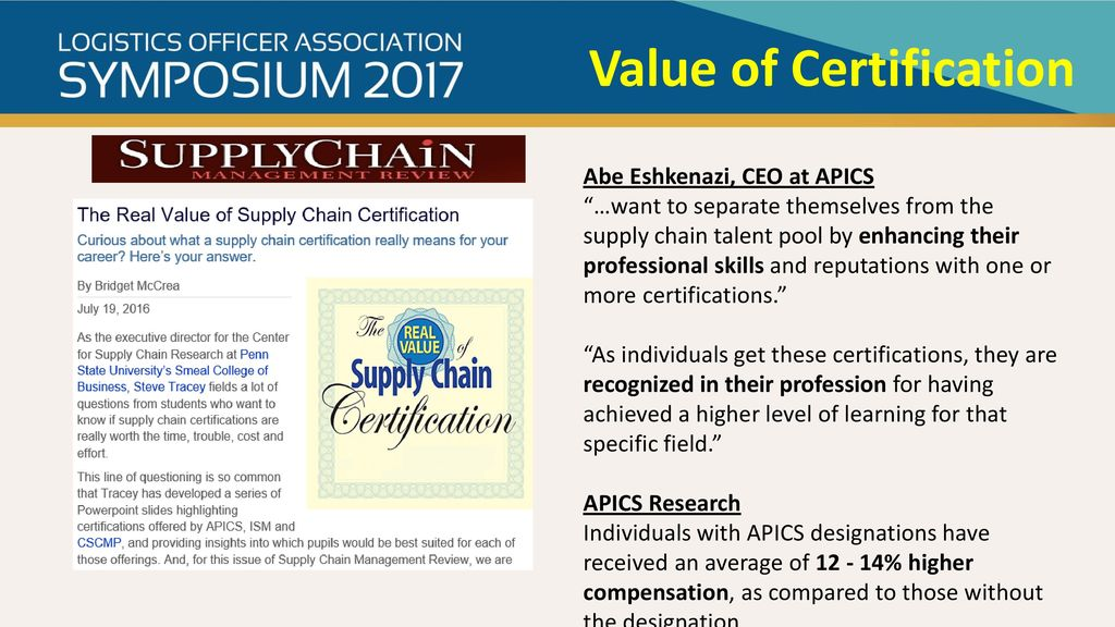 The Value Of Certification For In Supply Chain Management Ppt Download
