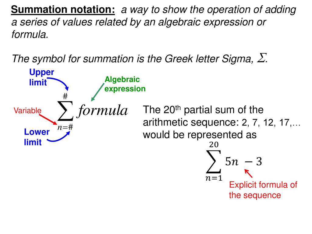 The symbol for summation is the Greek letter Sigma, S.   ppt download