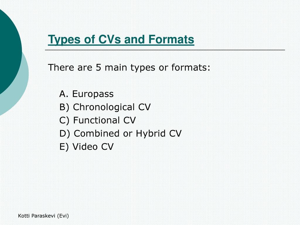 resume types and formats ppt download