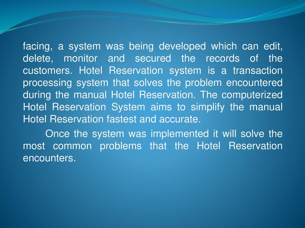 manual hotel reservation system