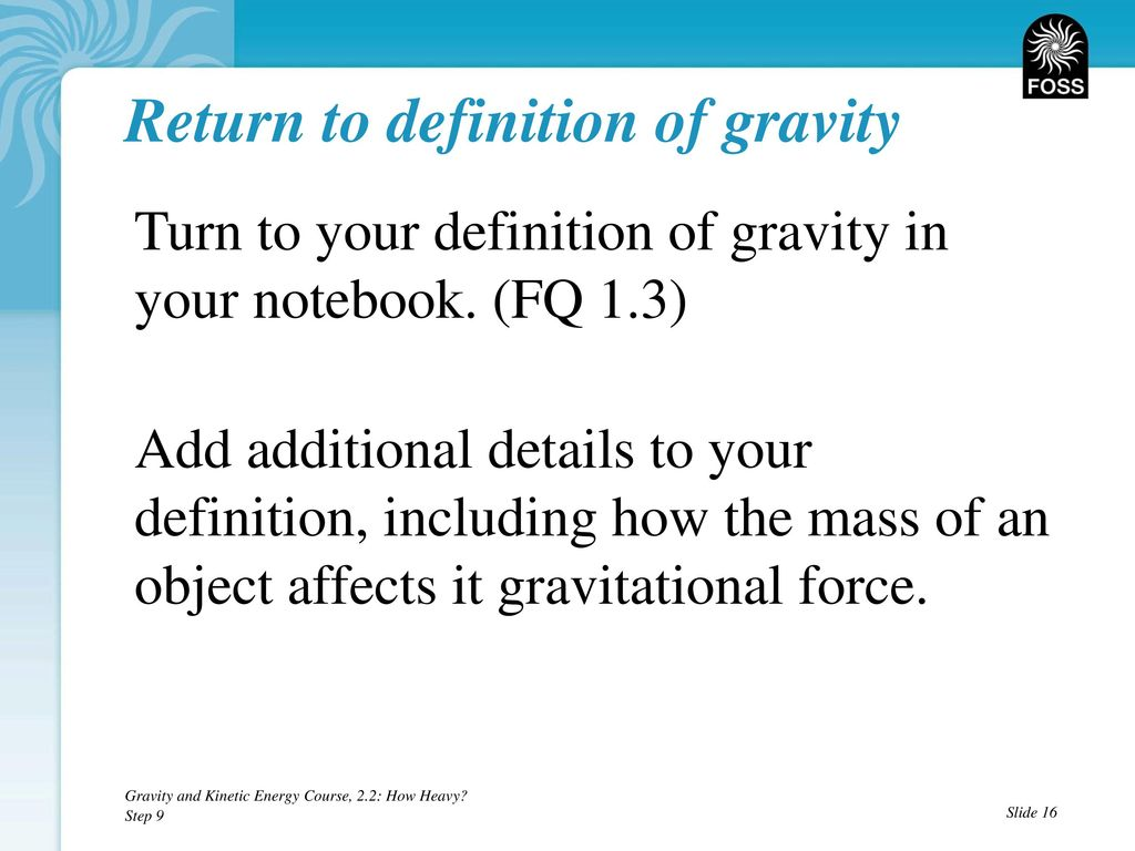 gravity and kinetic energy teaching slides, ppt download