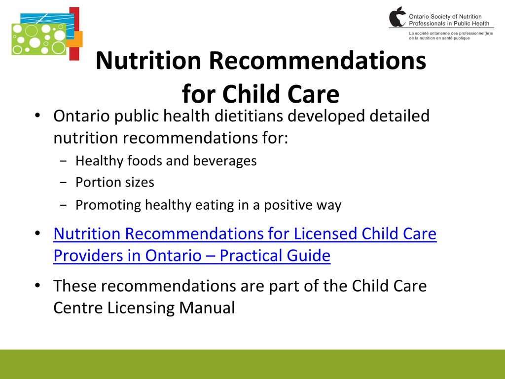 Nutrition Recommendations for Child Care