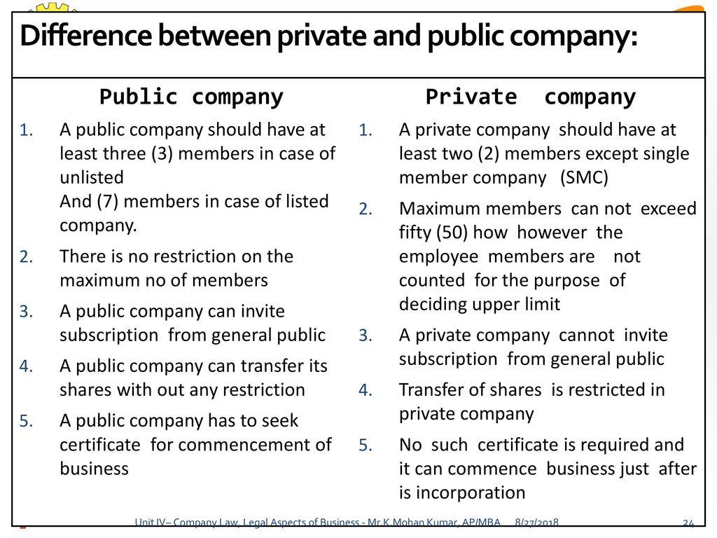 public company private company difference