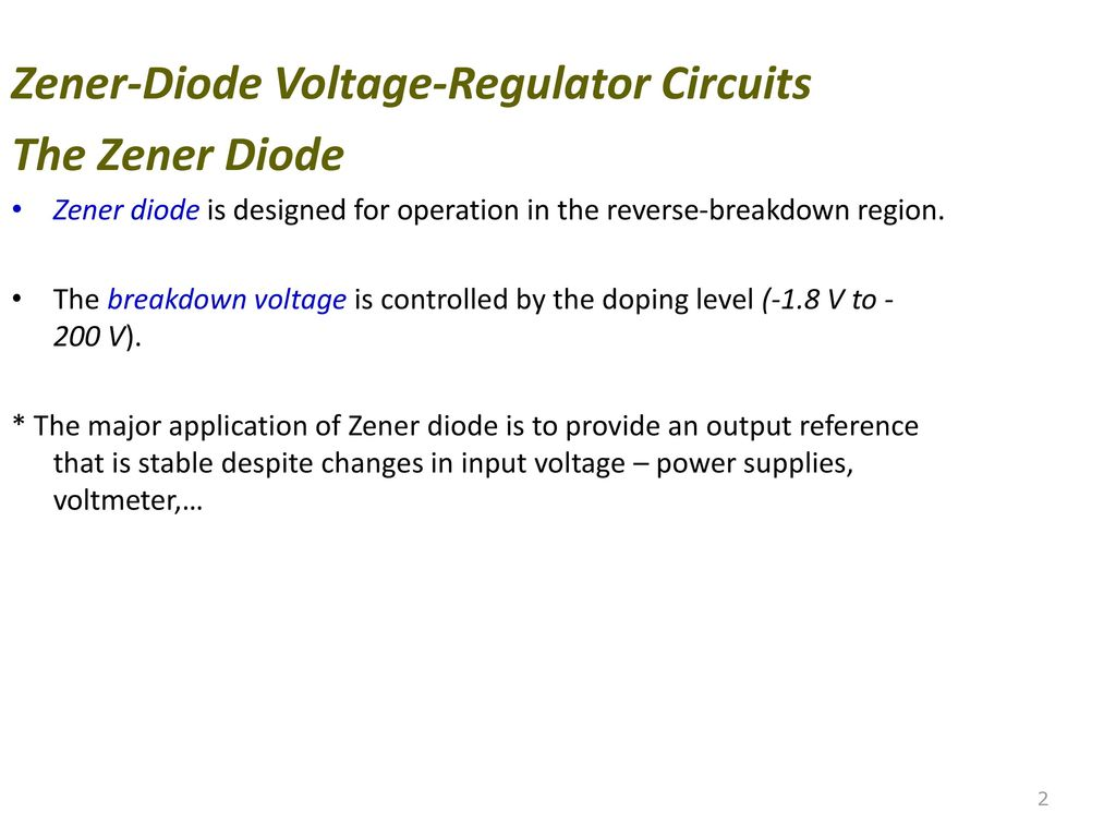 Zener Diode Voltage Regulator Ppt Download Circuit Diagram 2 Circuits