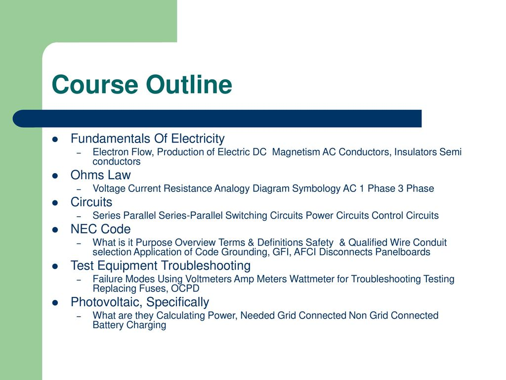 Practical Electricity Ppt Download Electrical Dc Series Circuit Course Outline Fundamentals Of Ohms Law Circuits Nec Code
