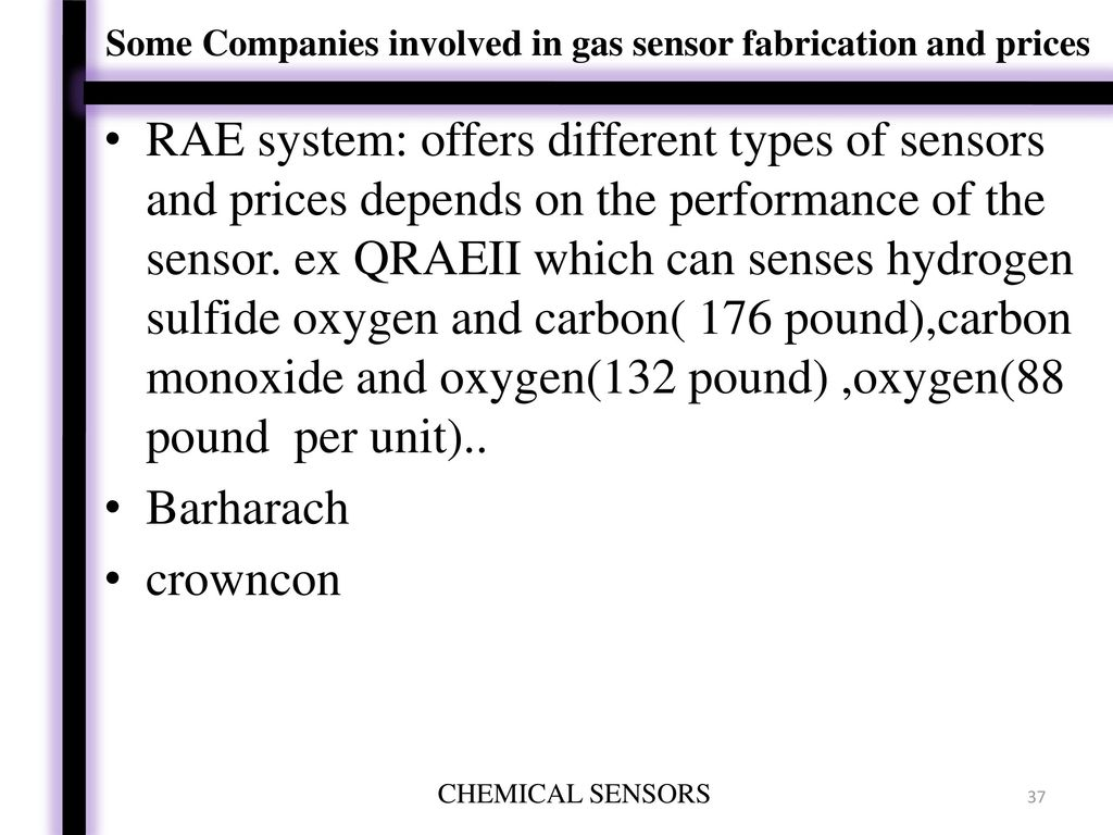 CHEMICAL SENSOR PREPARED AND PRESENTED BY - ppt download