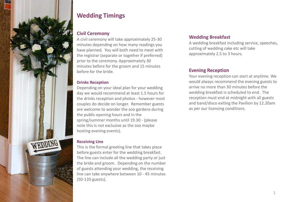 Wedding Timings Civil Ceremony Wedding Breakfast Evening Reception
