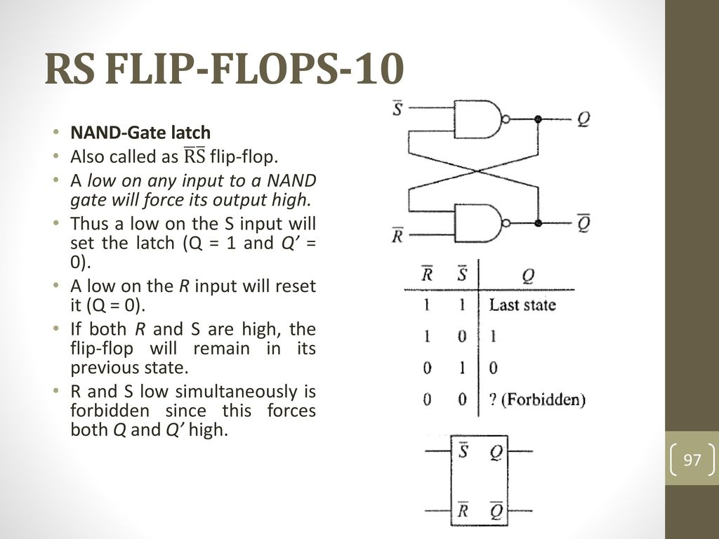 Data Processing Circuits And Flip Flops Ppt Download Nand Gate Circuit Diagram On Dflip Flop Rs 10 Latch Also Called As R S
