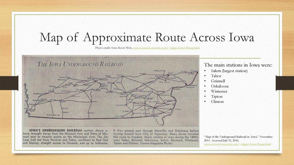 Salem Iowa Map.The Underground Railroad Ppt Download