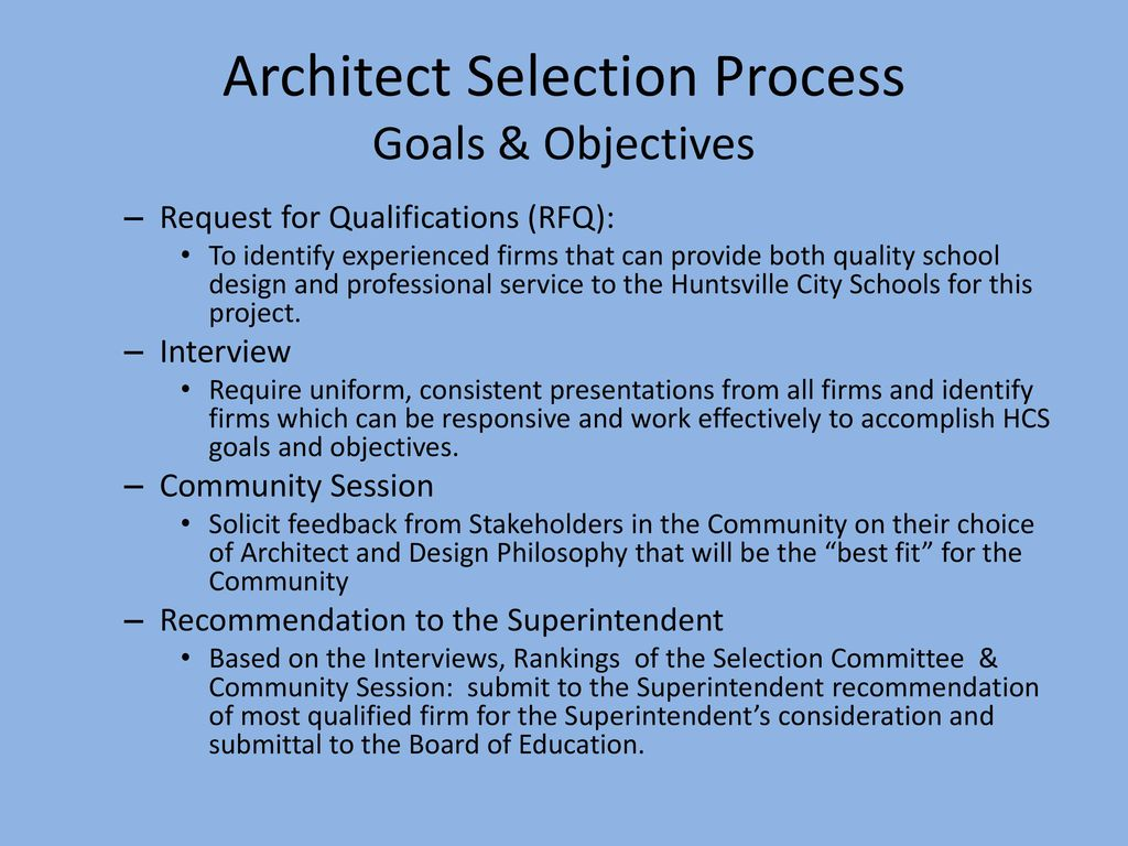 Architect Selection Process for University Place Elementary