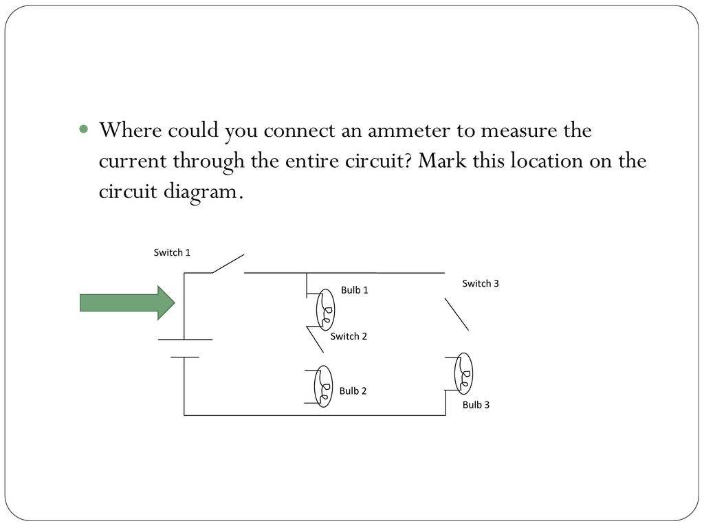 Combination Circuits Lesson Ppt Download 2 Switch Circuit Diagram Where Could You Connect An Ammeter To Measure The Current Through Entire Mark This
