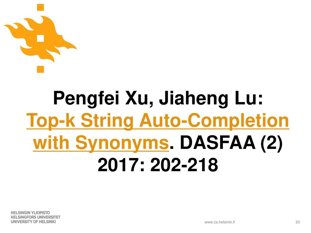 Top-k String Auto-Completion with Synonyms - ppt download