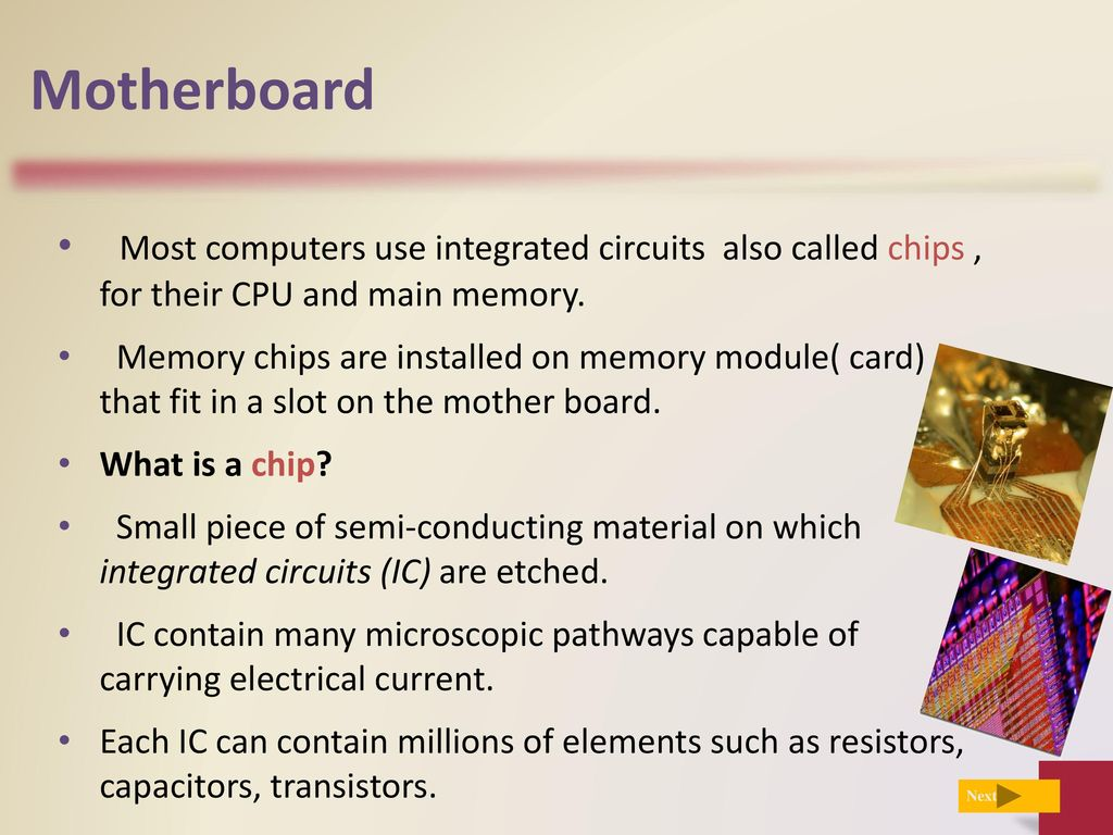 Edited By Noor Alhareqi Ppt Download Uses Of Integrated Circuits Motherboard Most Computers Use Also Called Chips For Their Cpu And Main Memory