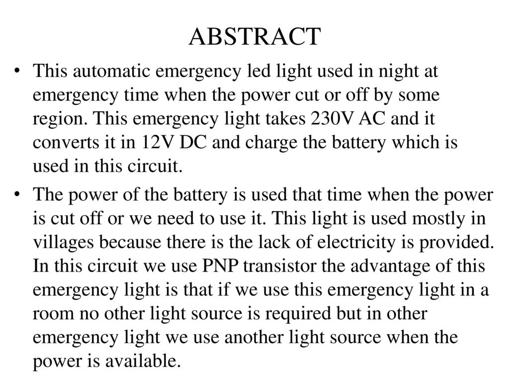 Automatic Emergency Led Light Ppt Download Low Cost Ligh 2 Abstract